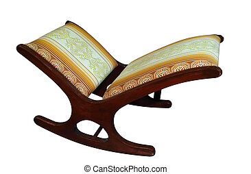 Antique Footstool isolated with clipping path