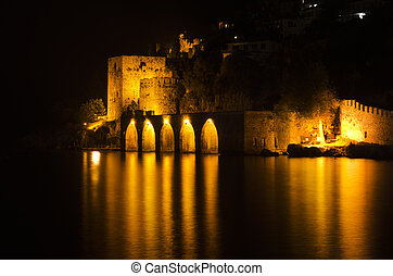 Antique fortress at night in Alanya, Turkey
