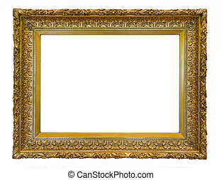 antique frame - golden antique ornamental art frame isolated...