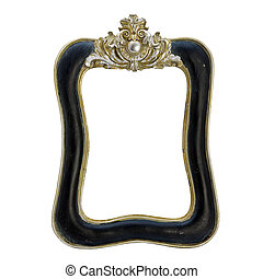 antique frame with woman's portrait . Isolated image.