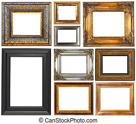 Antique frames isolated on white background
