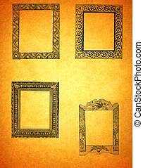 Antique Frames on Old Paper