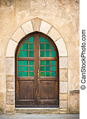 Antique front door with green glass