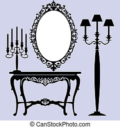 Antique furniture - Interior scene with antique furniture,...