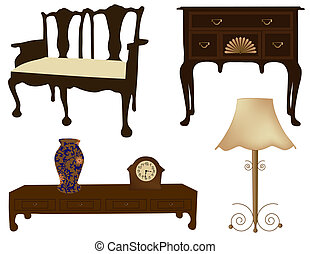 Antique furniture isolated on white background