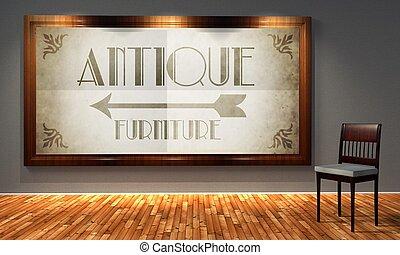 Antique furniture vintage sign, retro interior