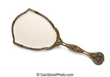 Antique Gilded Hand Mirror over White - Vintage antique...