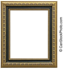 Antique gilt picture frame isolated on white background and clipping path