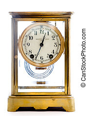 Antique Glass Clock on White Background - Photo of an...