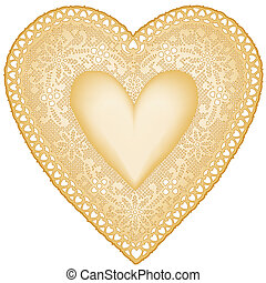 Antique Gold Lace Doily Heart - Vintage heart shaped gold...