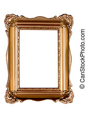 Antique gold picture frame isolated