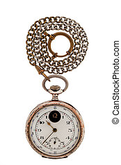 Antique gold pocket watch a chain.