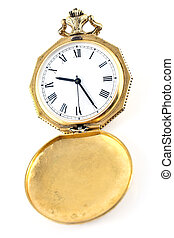 Antique gold pocket watch isolated on white