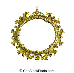 Antique golden ellipse frame isolated