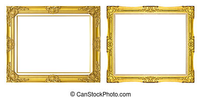antique golden frame isolated on black background