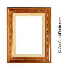 antique golden frame isolated on white background (Clipping Path