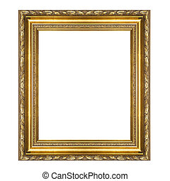 antique golden frame isolated on white background