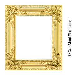 antique golden frame isolated
