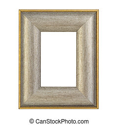 Antique golden frame isolated on white