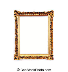 Antique golden frame, isolated