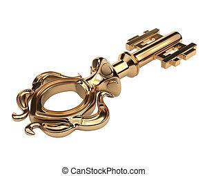 Antique golden key isolated on white background. Vector illustration.
