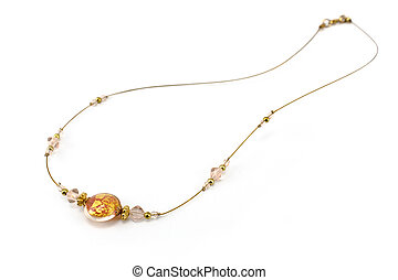 Antique golden necklace isolated on white