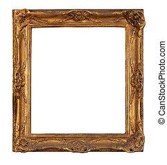 Antique golden picture frame.