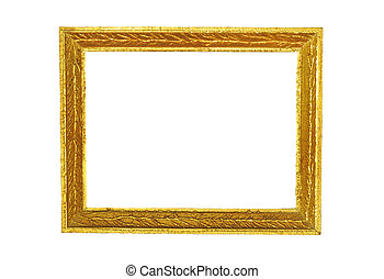 Antique golden picture frame, isolated on white