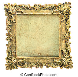 Antique golden picture frame with canvas on white background