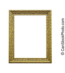 Antique golden wooden frame isolated on white