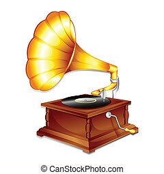 illustration of antique gramaphone on plain white background