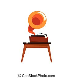 Antique gramophone, old unnecessary thing, garage sale vector Illustration on a white background
