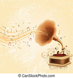 antique gramophone on rustic background
