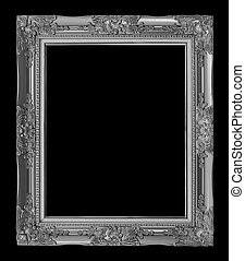 antique gray frame isolated on black background, clipping path