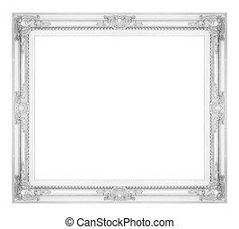 antique gray frame isolated on white background, clipping path