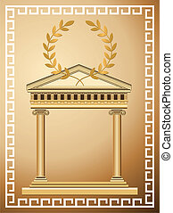 Antique temple background with olive branch and Greek pattern