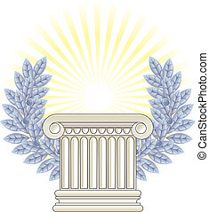 Antique Greek Column and silver Laurel.