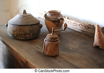 antique greek handmade pottery bowl millstone table