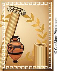 Illustration with antique Greek columns, vase and olive branch