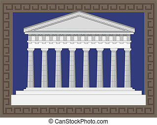 Antique Greek Temple - Antique temple illustration in Greek...