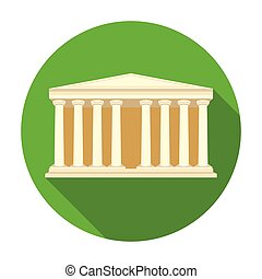 Antique greek temple icon in flat style isolated on white background. Greece symbol stock vector illustration.