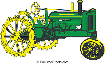 Antique Green Tractor - Vector, tractor, old, green , farm...