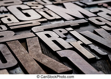 Antique grungy letterpress wood type printing blocks