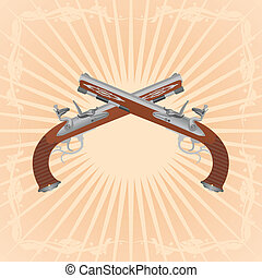 Antique guns (2 - Two ancient gun on an abstract background....