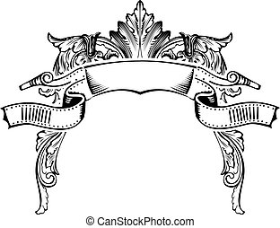 Antique Half Frame Engraving, Scalable And Editable Vector Illustration