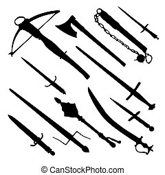 antique hand weapons - set of medieval hand weapons -...
