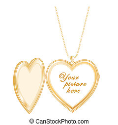 Antique Heart Locket Chain Necklace - Vintage engraved gold...