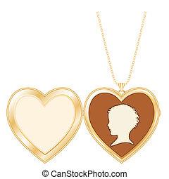 Antique Heart Locket Child's Cameo - Engraved gold keepsake...