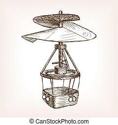 Antique helicopter hand drawn sketch vector
