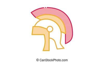Antique Helmet Icon Animation. color Antique Helmet animated icon on white background
